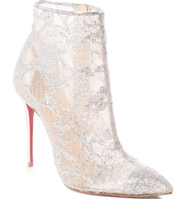 f98ef559b98 Christian Louboutin Gipsybootie Metallic Lace Red Sole Ankle Boot In ...