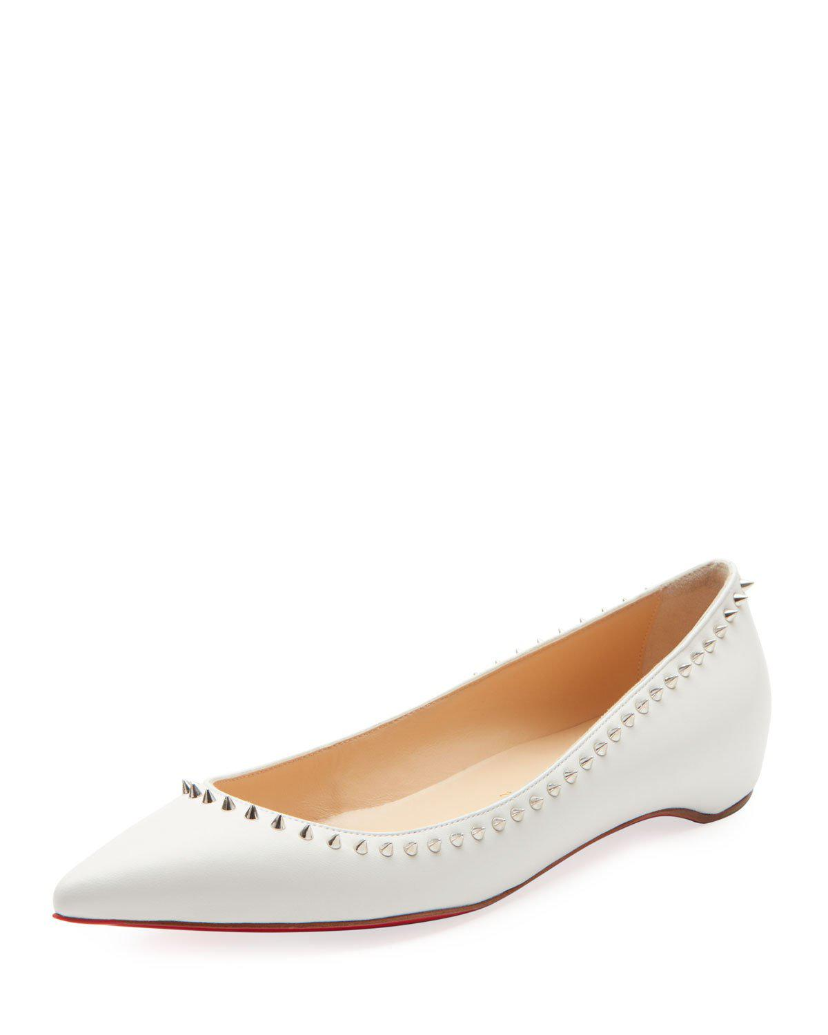 49ac1921147c Christian Louboutin Anjalina Studded Red Sole Ballet Flats In Snow White   Silver