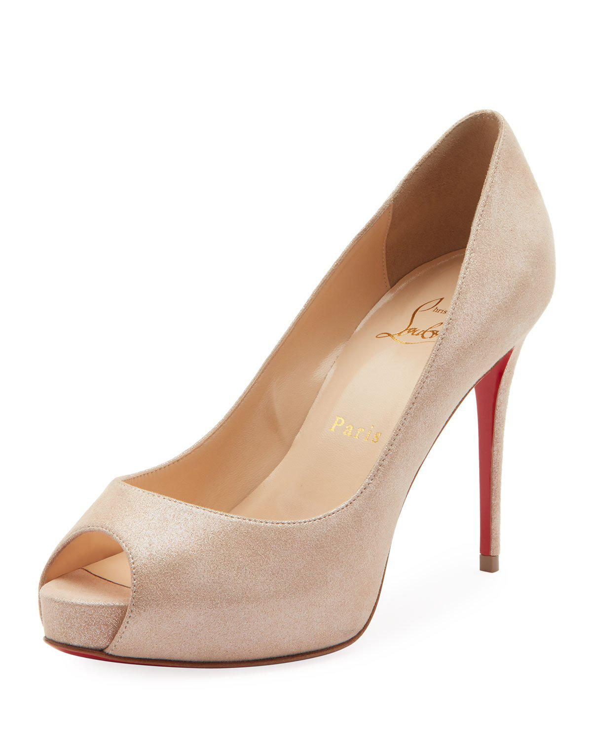 96a0b9b4a9a8 Christian Louboutin New Very Prive Peep-Toe Red Sole Pumps In Nude ...