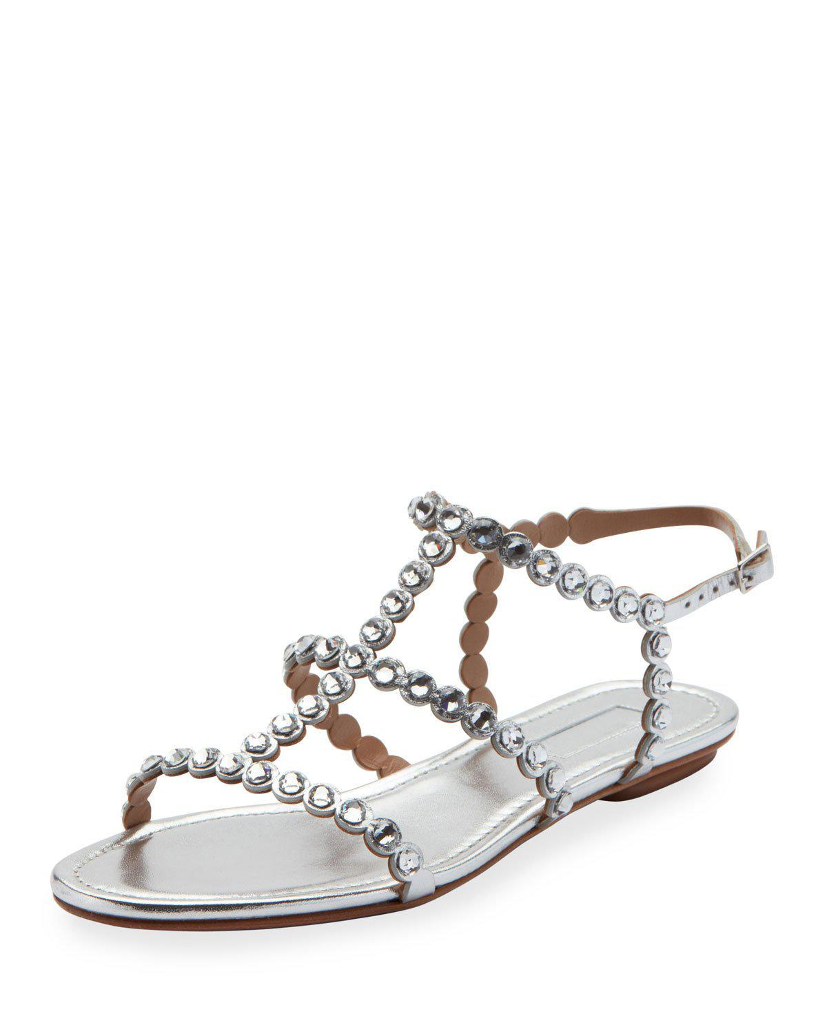Aquazzura Tequila Jeweled Strappy Sandals In Silver Modesens