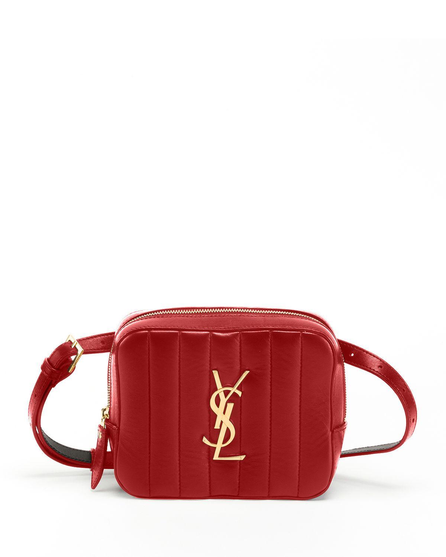 42df4c3f30 Saint Laurent Monogram Vicky Small Leather Belt Bag - Red