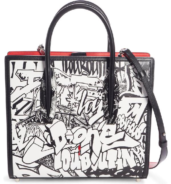 31ae6336757 Paloma Medium Paris Wall Nicograf Tote Bag in White/ Black/ Black/ White