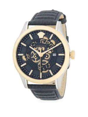 Versace Stainless Steel & Textured Leather-Strap Watch In Grey