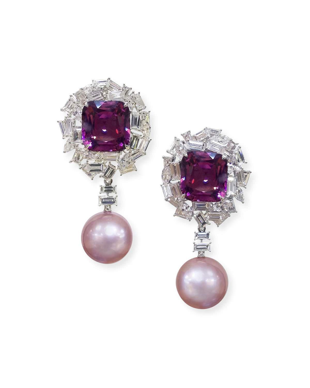 e734fb953 Margot Mckinney Jewelry 18K White Gold Pink Pearl, Purple Spinel & Diamond  Earrings