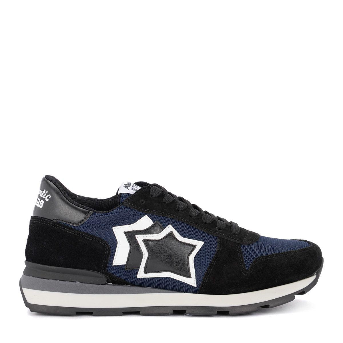 Atlantic Stars Sirius Blue Mesh And Black Suede Sneaker In Multicolor