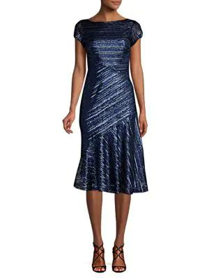 Theia Sequin Knee-length Fit-&-flare Dress In Sapphire