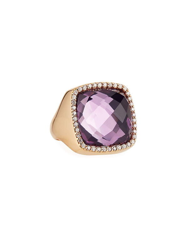 Roberto Coin 18K Rose Gold Amethyst Cocktail Ring With Diamonds In Purple/Rose Gold