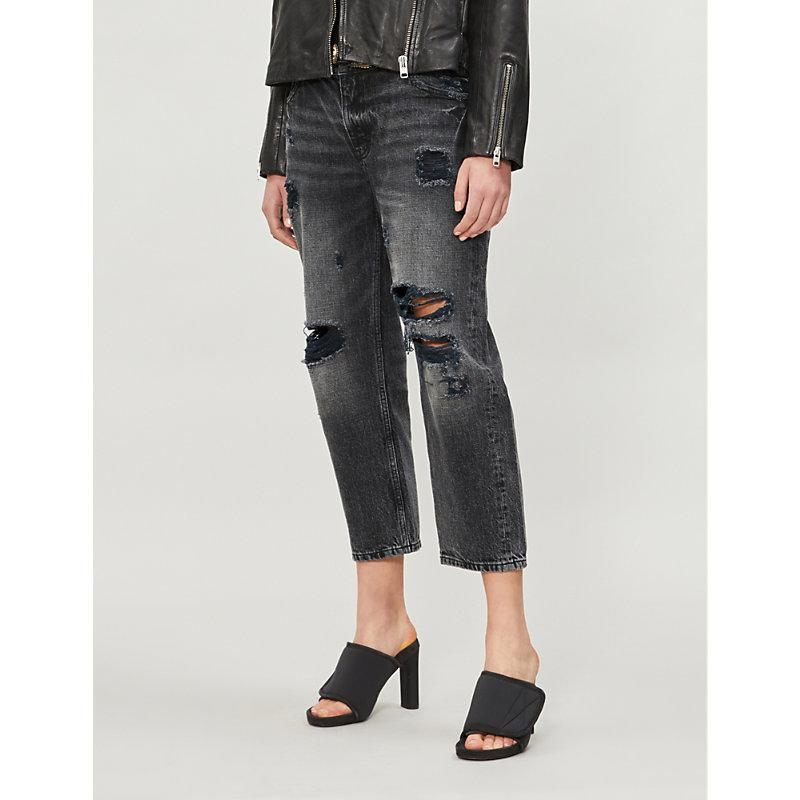 6270b3ea32b The Kooples Ripped High-Rise Cropped Jeans In Bla55 | ModeSens