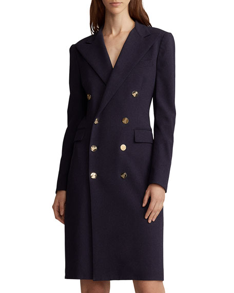 Ralph Lauren Wellesley Double-breasted Wool Coat Dress In Navy