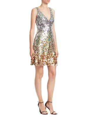 Jenny Packham Beaded Cocktail Dress In Snow Drop