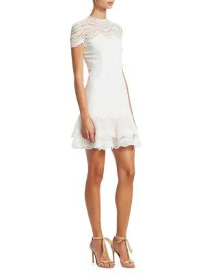 bb796aa48a2 Jonathan Simkhai Mixed Lace Cap Sleeve Mini Dress In White. SIZE   FIT  INFORMATION.