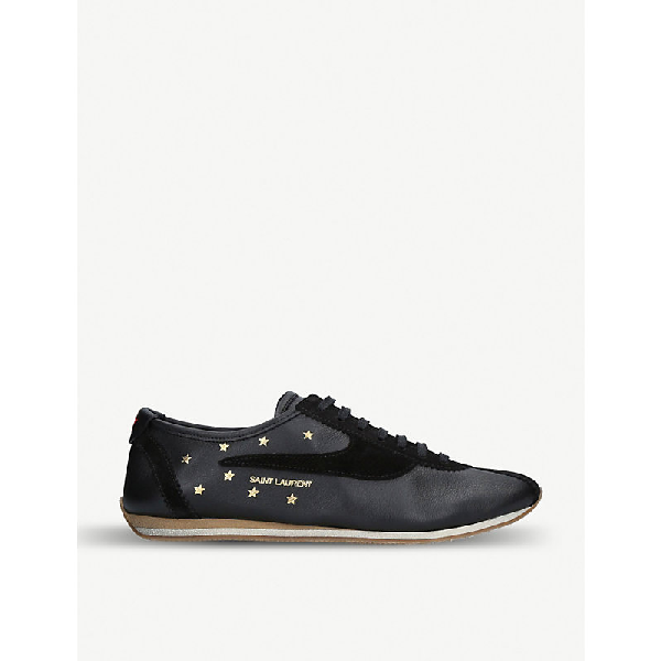 Saint Laurent Jay Star-Embossed Leather Trainers In Black