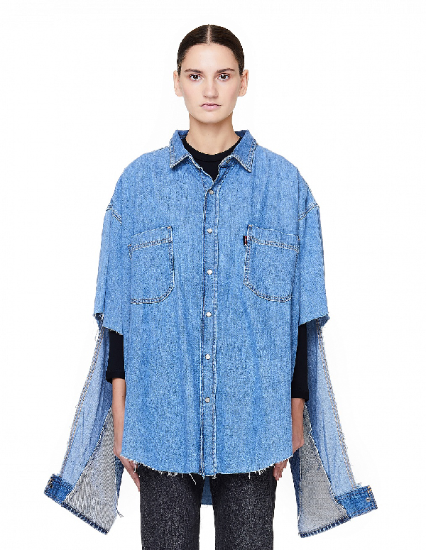 Vetements Levi's Denim Shirt With Cutout Sleeves In Blue