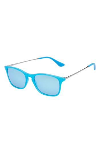 8eb547469f Ray Ban Chris Junior 49Mm Mirrored Wayfarer Sunglasses - Blue  Skyblue  Mirror