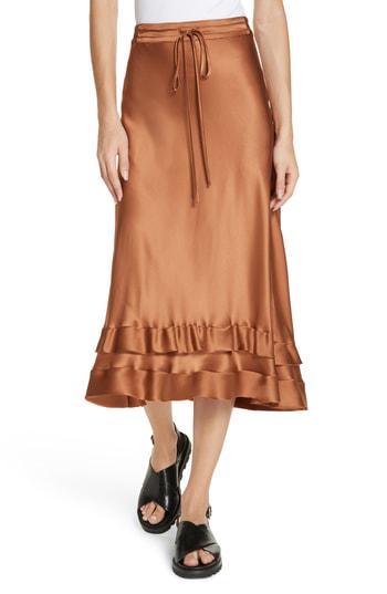 eb6500e6b3 Lee Mathews Rose Silk Satin Ruffle Hem Skirt In Copper | ModeSens