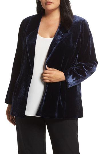 e1ca68c33cb70 Eileen Fisher Plus Size Notch-Collar Velvet Blazer In Midnight ...