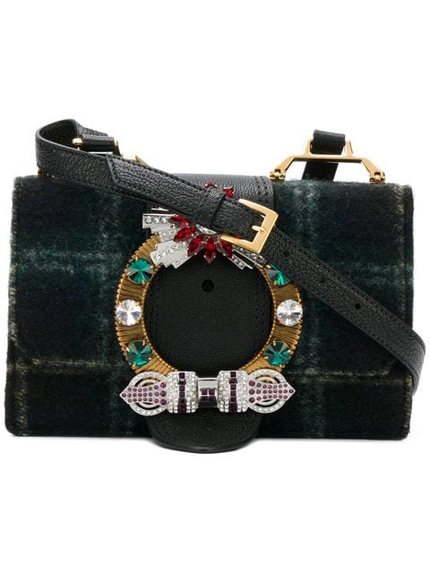 f079c31e8167 Miu Miu Embellished Wool-Blend Shoulder Bag In Green