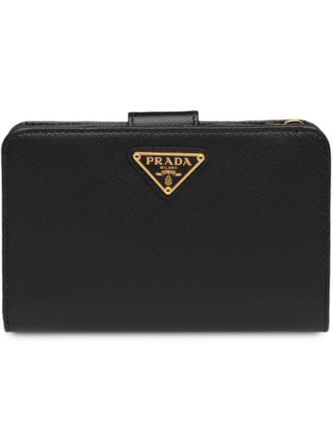 Prada Triangle Logo Snap Button Wallet In Black