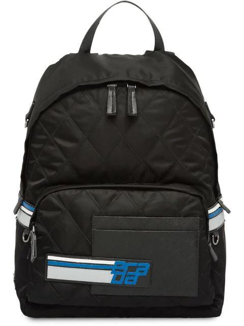Prada Logo Quilted Backpack In Black