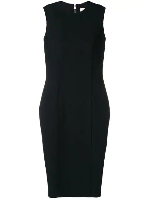 Victoria Beckham Fitted Midi Dress In Black