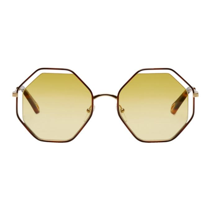6a40d414d283 ChloÉ Chloe Gold And Yellow Small Poppy Sunglasses In 266