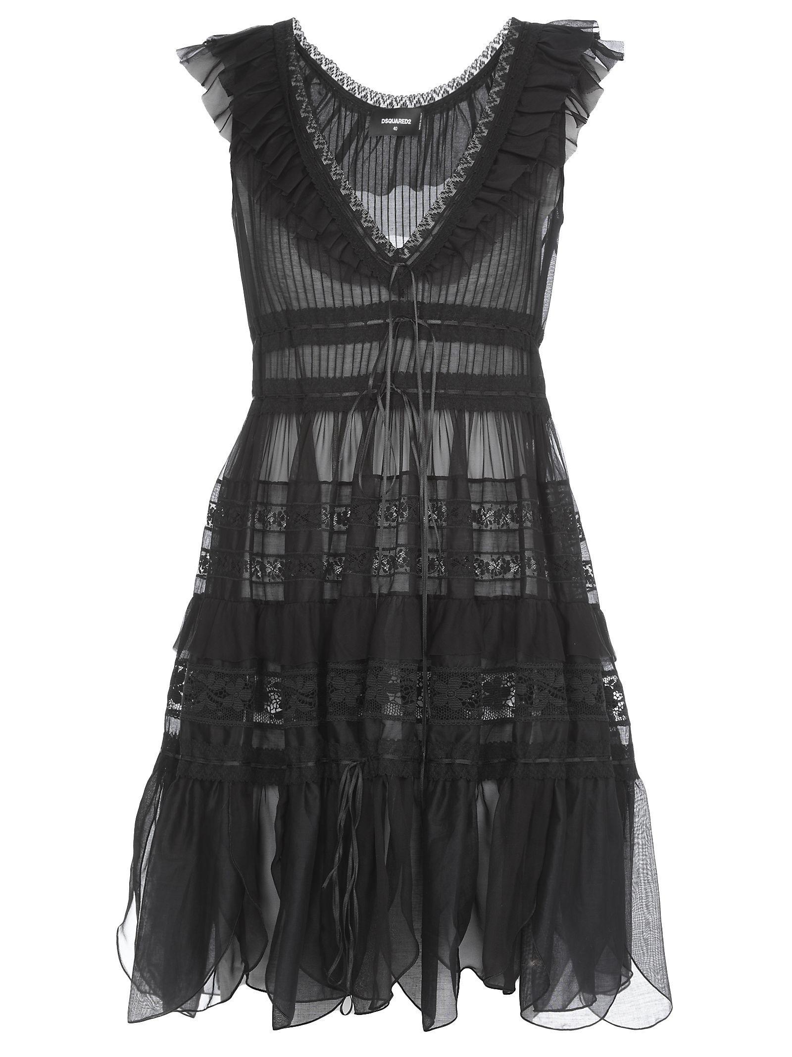 Dsquared2 Sheer Dress In Black