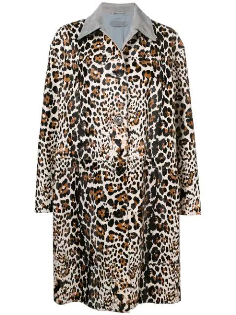 Bottega Veneta Suede-Collar Animal Print Cocoon Jacket In 1970 -Mist/Dark Artic