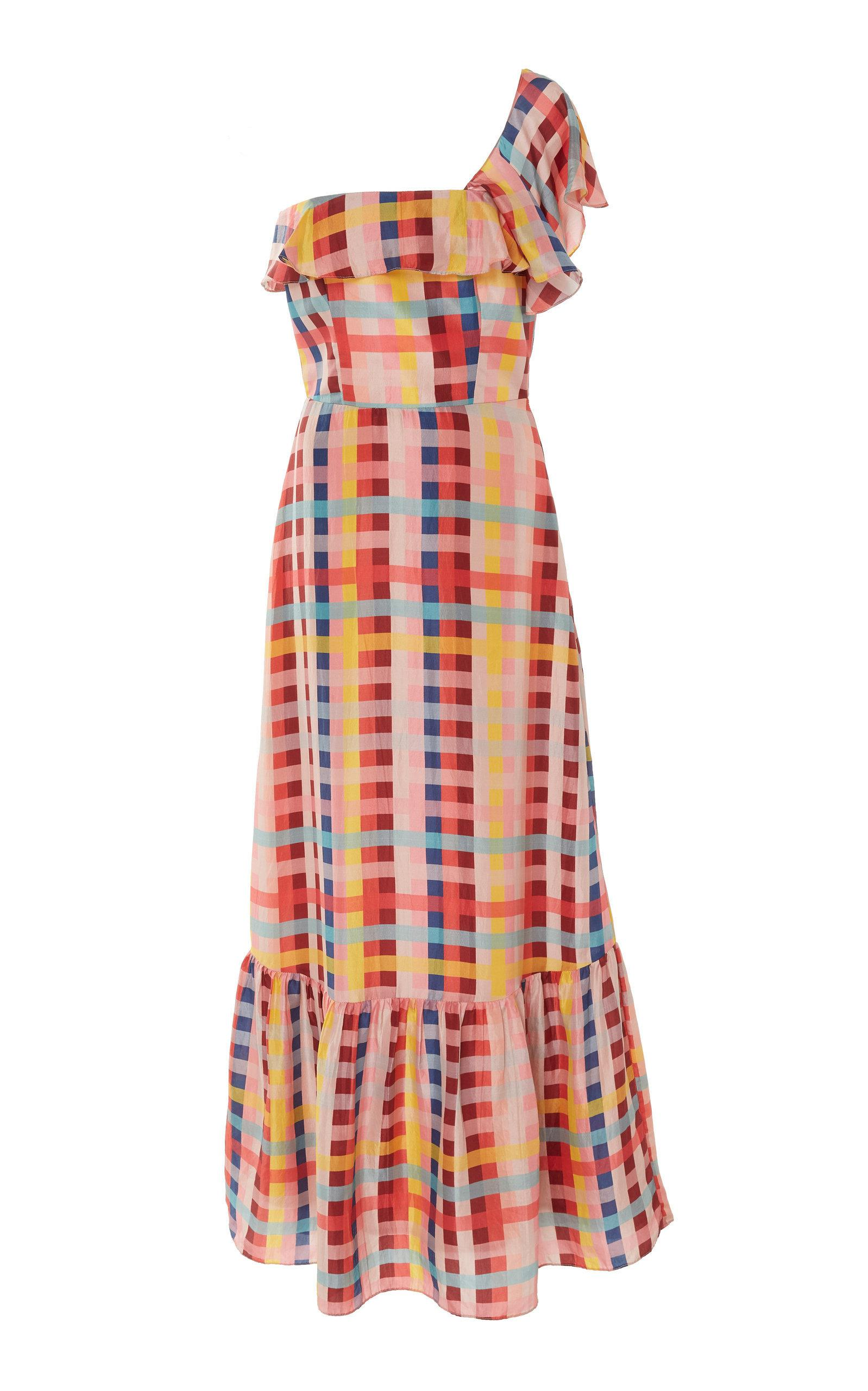Carolina K Una One-Shoulder Silk-Chiffon Maxi Dress In Plaid