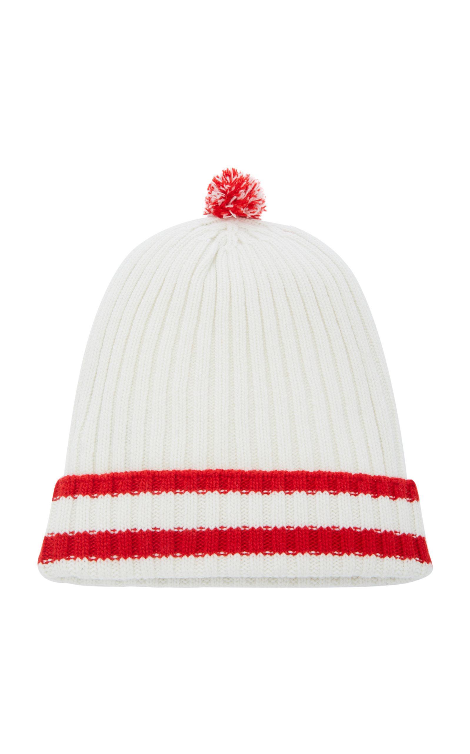Prada Striped Ribbed-Knit Wool-Cashmere Pom Pom Beanie In White ... 5efb227d3790