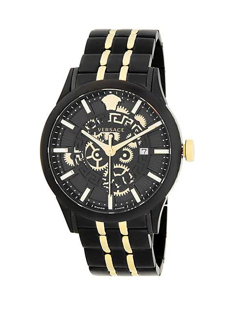 Versace Two-Tone Stainless Steel Bracelet Watch In Black