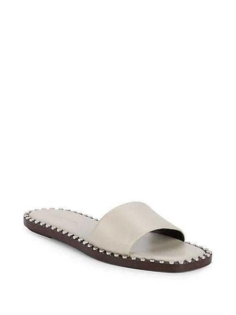Slide Sandals Lola Leather In Studded Smoke mwN0Ovny8