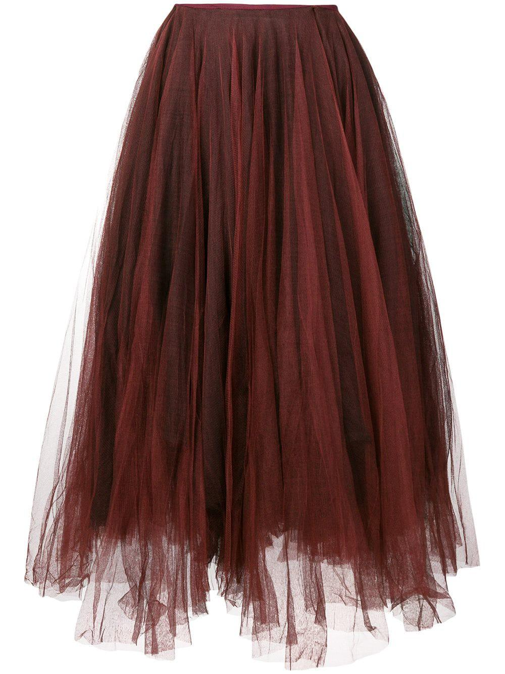 Marc Le Bihan Tulle Midi Skirt In Red
