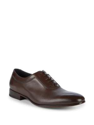 Salvatore Ferragamo Farnese Leather Oxfords In Chocolate