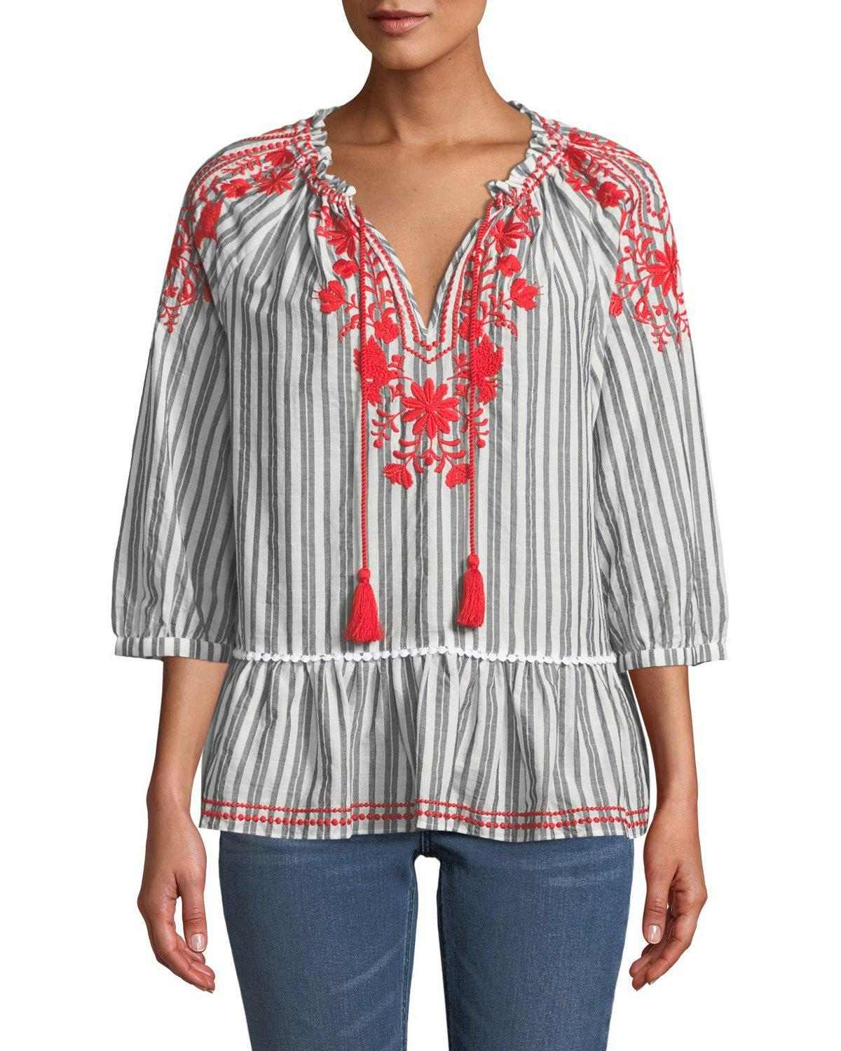 8fcc019a2ac5 Kate Spade Broome Street Embroidered Striped Top In White/Black ...