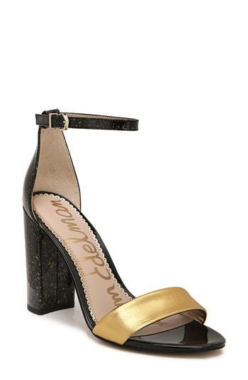 e8002e59f69 Sam Edelman Yaro Ankle Strap Sandal In Silver  Gold Fabric