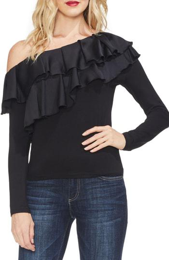 Vince Camuto Asymmetrical Tiered-Ruffle Top In Rich Black