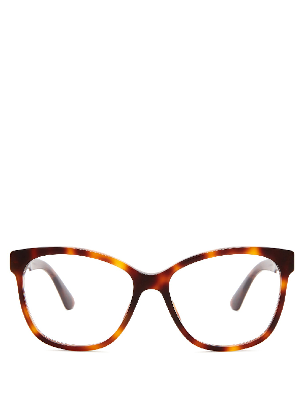 Gucci Crystal-embellished Square-frame Acetate Glasses In Tortoiseshell