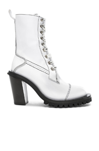 Acne Studios Leather Lace Up Boots In White