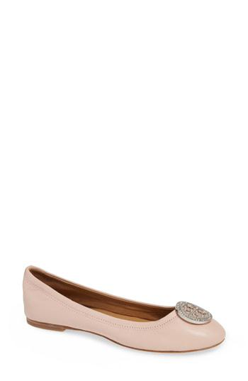 4d825af2251f7 Tory Burch Women s Liana Round Toe Rhinestone Logo Leather Ballet Flats In  Sea Shell Pink
