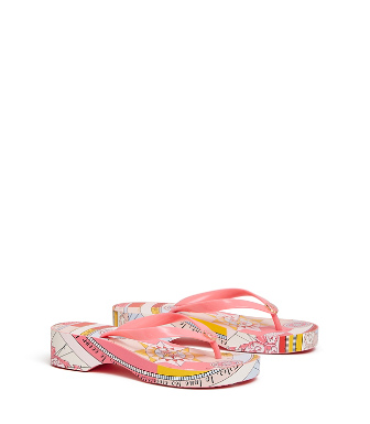 abfbf3ec1 Tory Burch Printed Carved Wedge Flip-Flop In Pink Paradise   Pink  Constellation