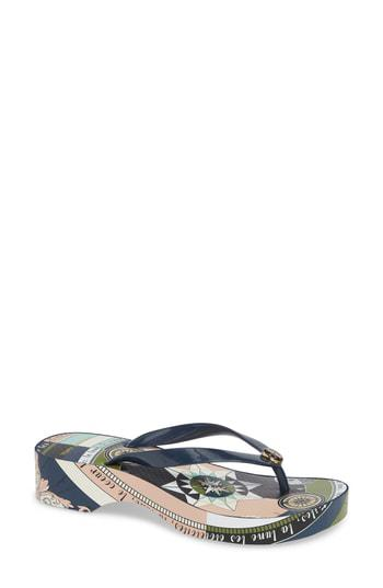 40656525b95e Tory Burch Wedge Flip Flop In Tory Navy  Navy Constellation