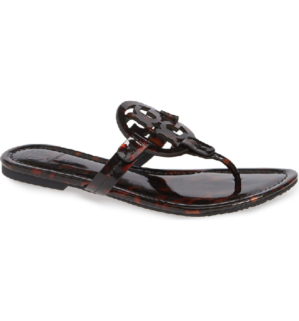 fd24d3ac5565 Tory Burch Miller Printed Flat Thong Sandals In Tortoise Shell. SIZE   FIT  INFORMATION