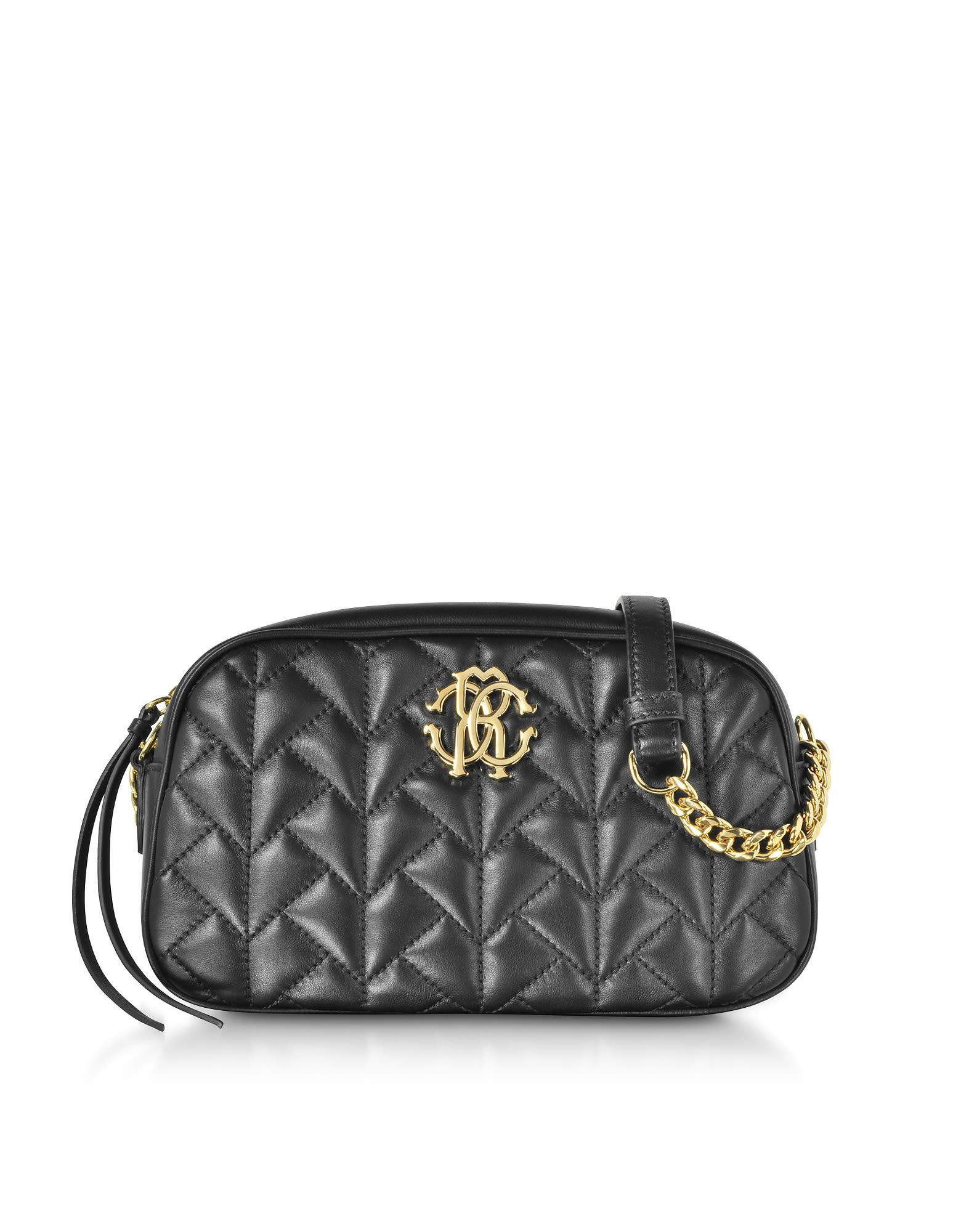 98e0660afcbc Roberto Cavalli Black Quilted Leather Crossbody Bag | ModeSens