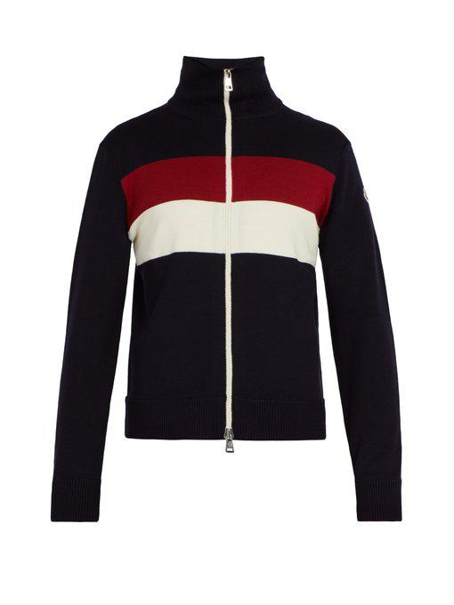 Moncler Striped Wool-Blend Sweater In Navy