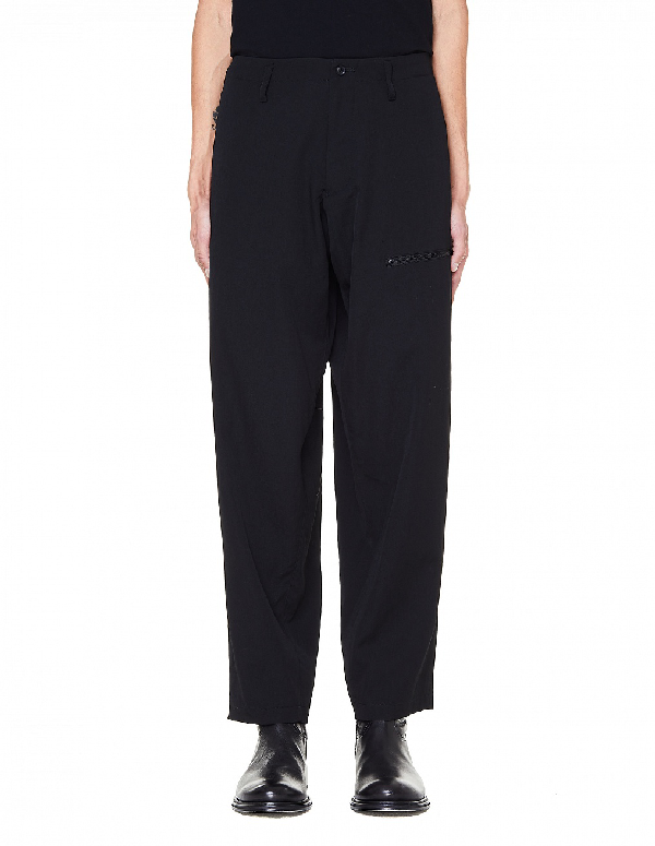Yohji Yamamoto Printed Wool-Gabardine Pants In Black