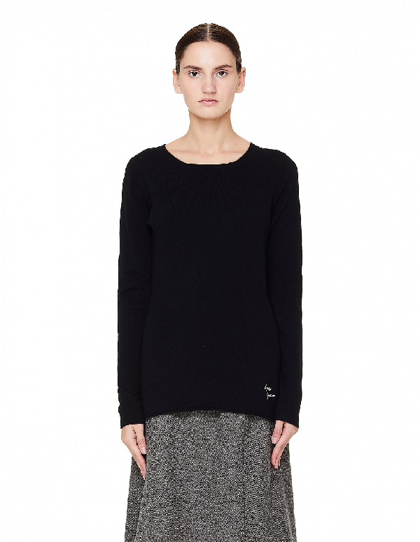 Yohji Yamamoto Black Round Neck Cashmere Sweater