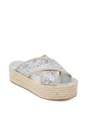 dc313ddebe2 Miu Miu Glitter Platform Sandals In Silver