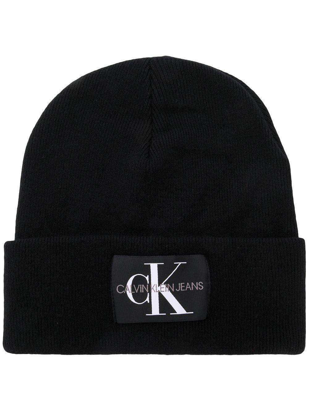 adc8dd460191e Calvin Klein Jeans Logo Patch Beanie In Black