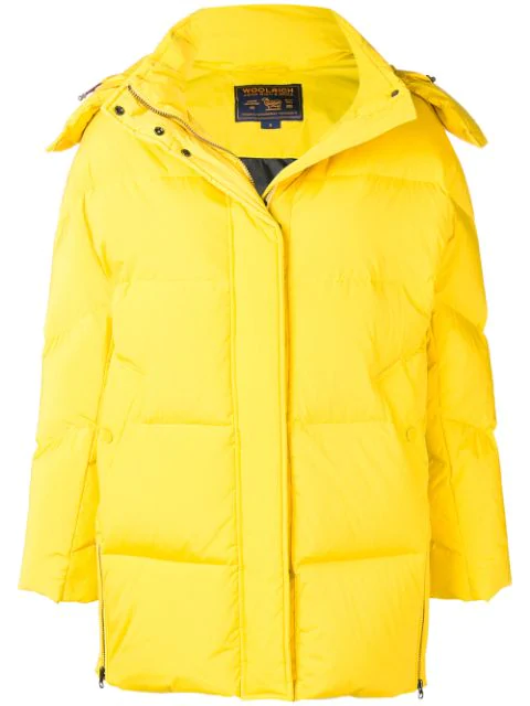 Woolrich Padded Oversized Jacket In Yellow