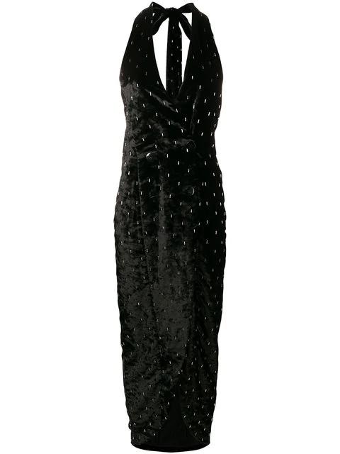 Attico Embellished Plunge Dress In Black